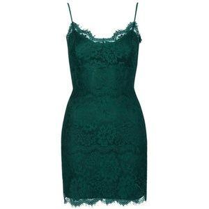 Topshop Green Lace Mini Dress